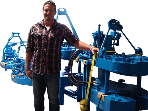 Cory Forbes the owner of GOM Equipment LLC -- sending off a shipment of Rebuilt Power Tongs